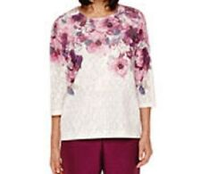 Alfred Dunner shirt size Large L , Pink and Gray Flowers  mesh  w/liner NWT