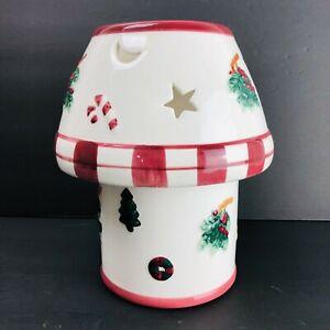 "Christmas Ceramic Lamp Shade Candle Holder Set 4"" Jar Flameless Red Vintage"