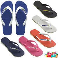 Havaianas Flip Flops Brasil Logo Top Unisex Summer Beach Sandals All Sizes.
