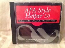 APA Style Helper 3.0: Software for New Writers in the Behavioral Sciences CD-ROM