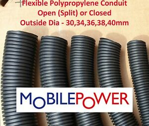 30 to 40mm Black flexible plastic conduit by the metre Split(Open) OR Closed