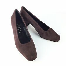 Amalfi Italy Womens Shoes Square Toe Block Heel 6.5 C Brown Leather Suede BX20