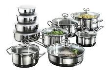 Induction Hob Saucepan 20 Piece Cookware Set with Roasting Pot 4 Bowls Non Stick