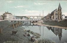 """WIMEREUX 1683 rivière & église pub verso magasin chaussures """"au sans pareil"""""""