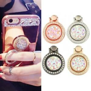 Finger Ring Grip Cell Phone Holder Stand Attachment Rotating Diamond Bling Hook