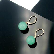 Boucles d'Oreilles Dormeuse Doré Perle Vert en Verre 12mm Simple Retro EE10