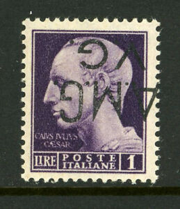 Italy AMG VG 1LN4 Inverted Overprint Variety MNH Sassone 8d €120 Signed 5F5 13