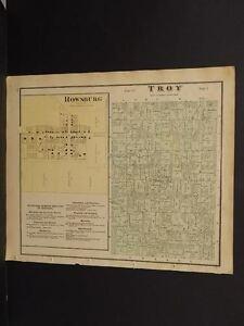 Ohio Ashland County Map Troy Rowsburg Township 1874  L9#43