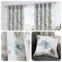 Fusion ADRIANA Duck Egg Blue Floral 100% Cotton Eyelet Curtains & Cushions
