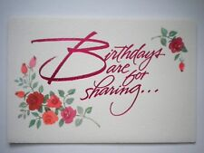 """Carlton Cards ~ """"BIRTHDAYS ARE FOR SHARING"""" GREETING CARD + PINK ENVELOPE"""