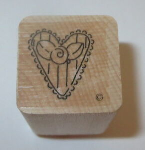 Heart Rose Rubber Stamp Close To My Heart Flower Stripes Love Wood Mounted