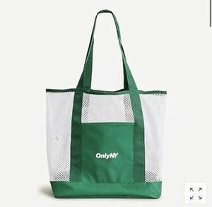NEW ONLY NY J.Crew Nylon Mesh Green & White Shopper Beach Gym Tote Bag RARE