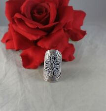Sterling Silver 16g Swirled Marcasite   Ring Size 8.5 CAT RESCUE