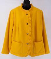 NEW Talbots Woman Wool Blend Ruffle Jacket Blazer 18W yellow gold