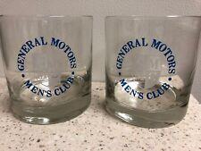 Vintage General Motors Mens Club Rocks Drinking Glasses Set Of 2