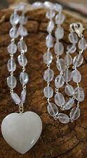 Heart Crystal Light Fill Himalayan Quartz White Azeztulite Activated Necklace