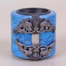 Chinese Antique Tibet Silver Mandarin Duck Mosaic Lapis Lazuli Pull Finger
