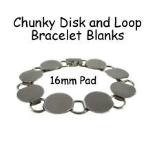 5 Disk Loop Chain Bracelet Form Blank Chunky 7.5 Inch with 16mm Glueable Pads