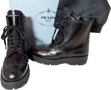 Prada Black Brogue Leather Zipper Combat Biker Boots Motorcycle Booties 35.5