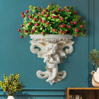 Hanging Flower Pot Cupid Angel Plaster Resin Corbel Shelf Rococo Wall Art  - /