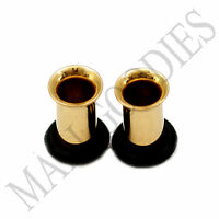 0851 Gold Single Flare Flesh Tunnels Earlets Big Gauges 4G Plugs 5mm 1 PAIR