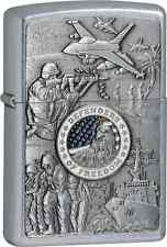 Zippo 24457, Joined Forces, Emblem, Brushed Chrome Finish Lighter, Full Size