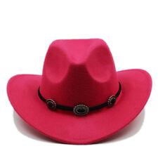 Adult / Kid Size Felt Western Cowboy Hat Wide Brim Cowgirl Retro Band Sombrero