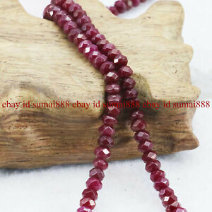 """Natural 2x4mm Faceted Red Ruby Rondelle Gemstone Loose Beads 15"""" AAA+"""