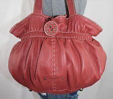 ADRIENNE VITTADINI Med Red Soft Leather Shoulder Hobo Satchel Slouch Purse Bag