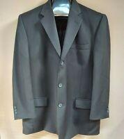 Pierre Cardin Mens 2 Piece Suit 3-Button Blazer & Pants Straight Black Sz 46 /40