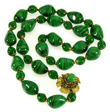 VTG LARRY VRBA FOR MIRIAM HASKELL MALACHITE GLASS NECKLACE BOOK PIECE
