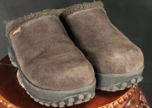 Vintage 90s FUZZY ROCKET DOG (8B) Suede Brown Grunge Slide Clog Shoes