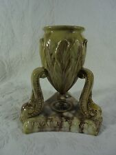 Antique Yellow Ware Vase With Legs Brown White Biege Marbled Glaze 19th Century