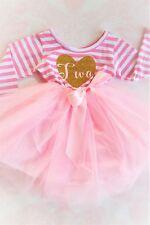 Pink and Gold Tutu Dress Girls Valentines Dress 2nd birthday 2T months size