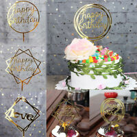 Happy Birthday Cake Topper Card Banner Acrylic Cake DIY Wedding Party Decor