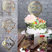 Happy Birthday Cake Topper Card Banner Acrylic Cake DIY Wedding Party Decor