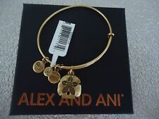 Alex and Ani  SAND DOLLAR II Russian Gold Charm Bangle New W/ Tag Card & Box