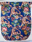 Vintage Needlepoint Chair Cover Floral Pink Rose Blue Background 4PC Work Done