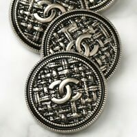 Chanel Buttons 2pc CC Silver Quilted 25mm 2 Buttons unstamped AUTH!!!