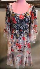 Betsey Johnson Pink & Gray Floral dress So 6 Ruffles Low Back Euc