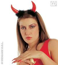 Vinyl & Marabou Red Devil Horns Demon Halloween Fancy Dress