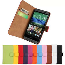 GENUINE REAL LEATHER WALLET CASE COVER FOR HTC ONE M8