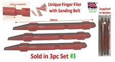 Finger Sanding Stick 3 x Unique Design with Belt Nail Filer, Hobby Craft Tool
