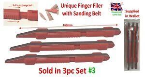 Finger Sanding Stick 3 x Unique Design with Belt Nail Filer, Hobby Craft Tool