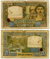 Rare Currency 1941 France 20 Francs Banknote P92b Allegories of Science & Labor