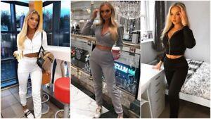 2Pcs Lounge Set Womens Boxy Fleece Loungewear Tracksuit Sports Jogging Top Pant