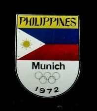 1972 Munich Olympic Games  Philippines NOC Olympic Team Pin Badge Rare