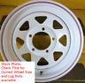 4 New Trailer Wheels 14 Inch 14x6 5on4.5 5x4.5 5 Bolt 5 Lug White Spoke Rim SIL