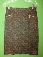 1814) MICHAEL KORS 4 animal print pencil skirt knee length polyester knit 4