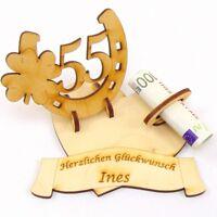 Geldgeschenk Platinhochzeit 55, Hufeisen Herz mit Namen des Brautpaares Holz